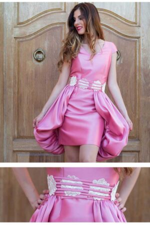 Vestido de coctel mikado rosa pastora orduno modelo candra 1