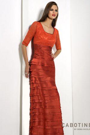 Vestido de fiesta largo color coral cabotine