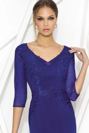 Vestido de madrina fiesta azul con mangas de tul 1