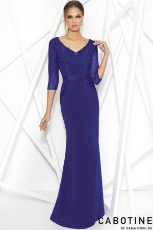 Vestido de madrina fiesta azul con mangas de tul
