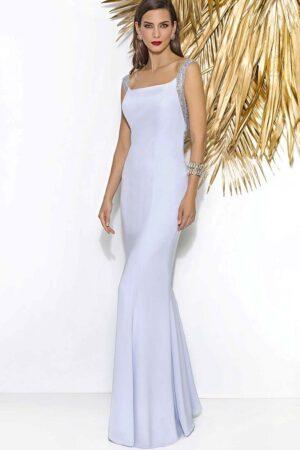 Vestido de madrina largo joya corte sirena 1