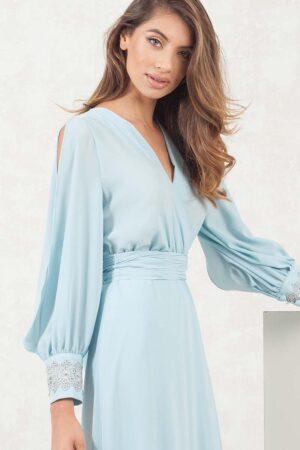 vestido de fiesta camisero con mangas 1