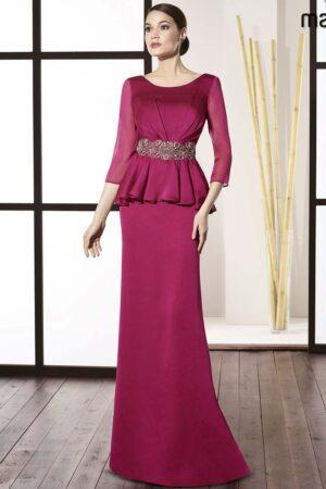 vestido de madrina con sobrefalda peplum coleccion manila 1