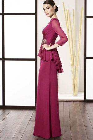 vestido de madrina con sobrefalda peplum coleccion manila