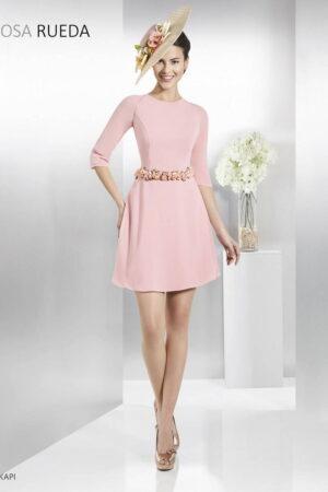 Vestido corto de fiesta rosa rueda modelo OKAPI