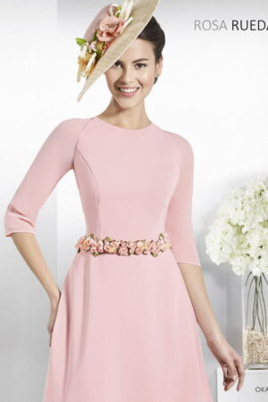 Vestido corto de fiesta rosa rueda modelo OKAPI A