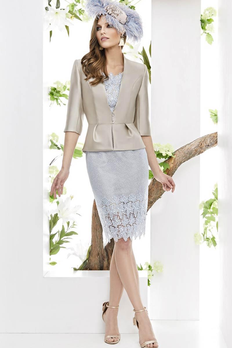 Vestido madrina chaqueta mikado seda esthefan modelo linaje