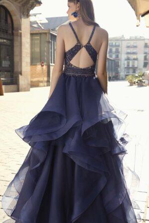 Vestido fiesta madrina panuelas azul noche fara 1