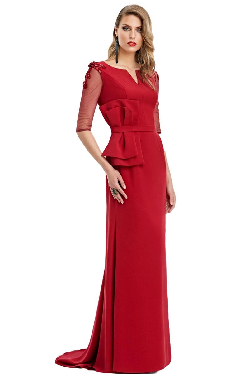Vestido largo rojo esthefan modelo lineas