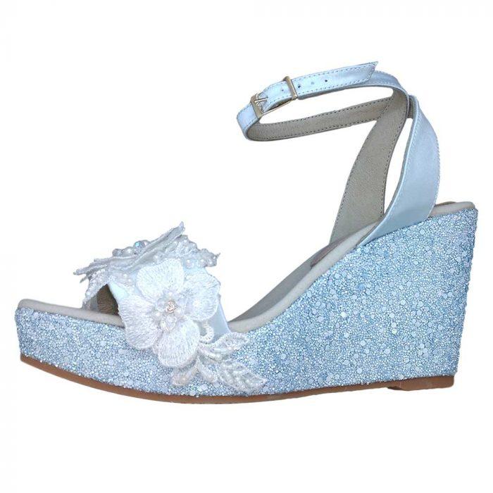 Alpargatas esparteñas novia modelo 227 azul 1