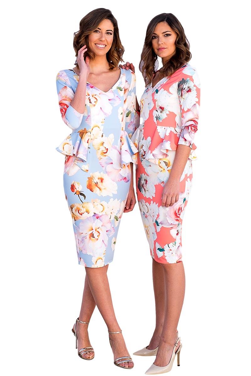 Vestido corto fiesta motivos florales modelo1529