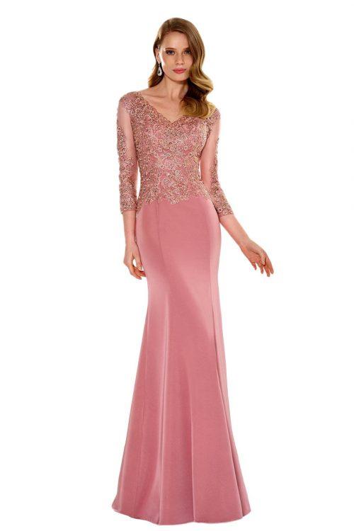 Vestido de fiesta largo rosa susana rivieri modelo 308121