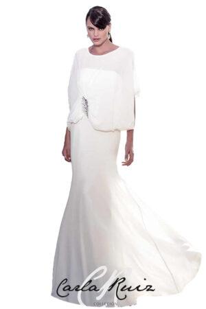 Vestido largo de fiesta blanco Carla Ruiz