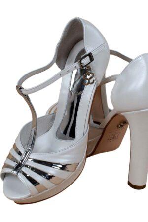 Zapatos de novia santino blanco y plata 3