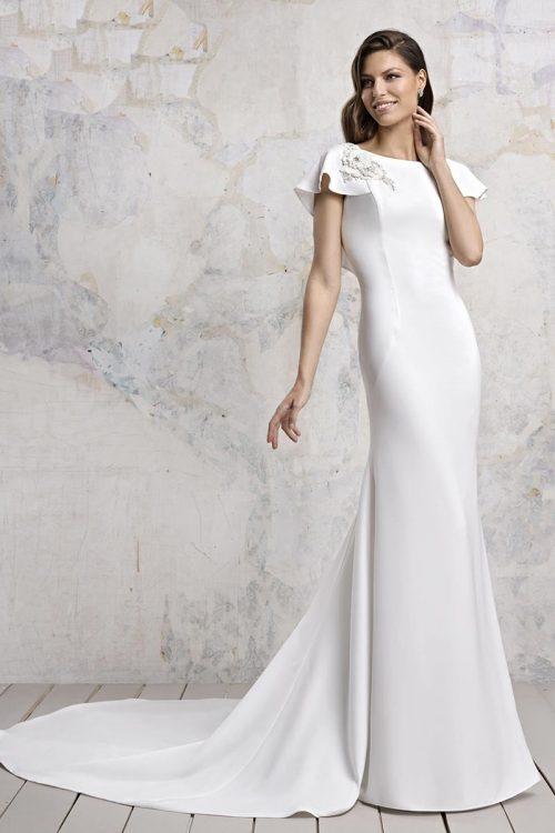 Vestido Novia Esthefan modelo peonias