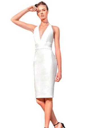 Vestido blanco corto escote moncho heredia