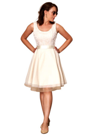 Vestido corto fiesta volantes blanco c