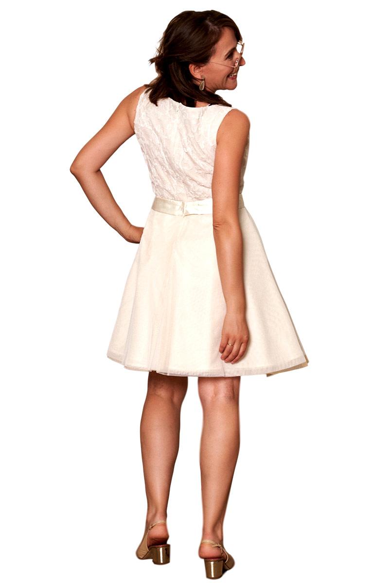 Vestido corto fiesta volantes blanco d