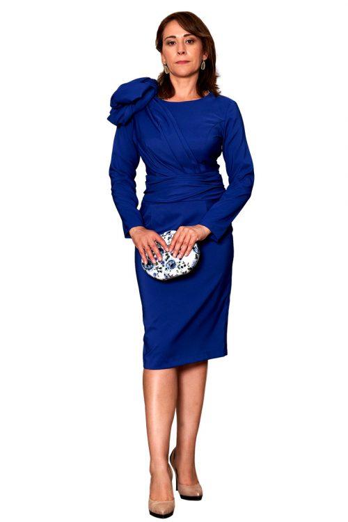 Vestido fiesta azul manga larga flor hombro