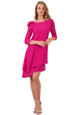 vestido corto fiesta rosa moncho heredia